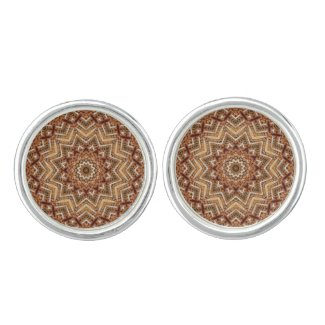 Kaleidoscope Light Brown Star Cufflinks