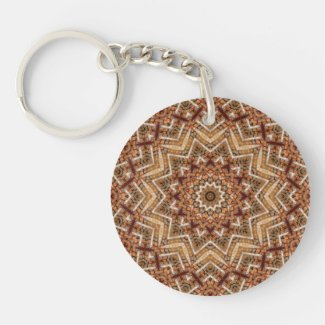 Kaleidoscope Light Brown Star Keychain
