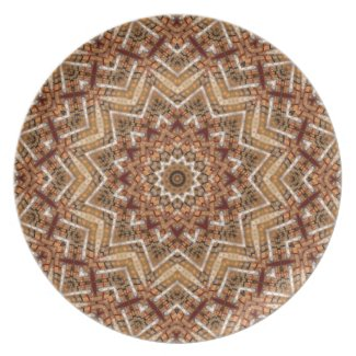 Kaleidoscope Light Brown Star Melamine Plate