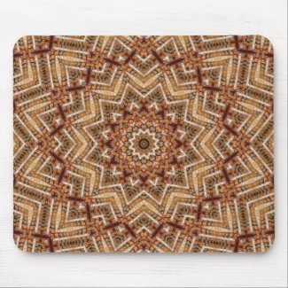 Kaleidoscope Light Brown Star Mouse Pad