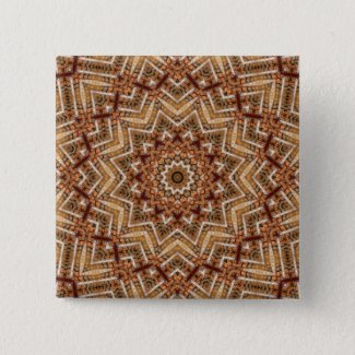Kaleidoscope Light Brown Star Pinback Button