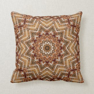 Kaleidoscope Light Brown Star Throw Pillow