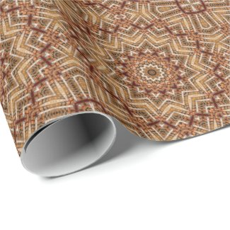 Kaleidoscope Light Brown Star Wrapping Paper