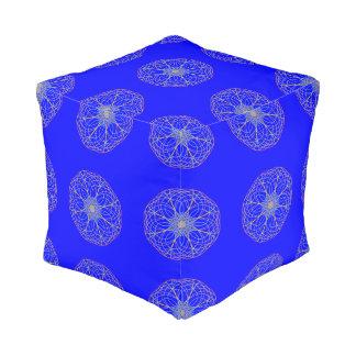 Kaleidoscope Mandala Art Blue Pouf
