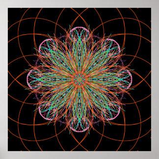 Kaleidoscope Mandala Art Energy Flower Poster