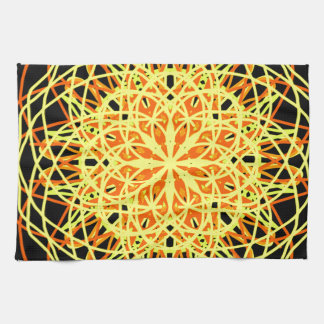 Kaleidoscope Mandala Art Energy Flower Yellow Towel