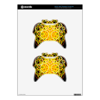 Kaleidoscope Mandala Art Energy Flower Yellow Xbox 360 Controller Decal