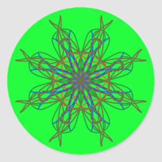 Kaleidoscope Mandala Art Neon Green Energy Star Classic Round Sticker