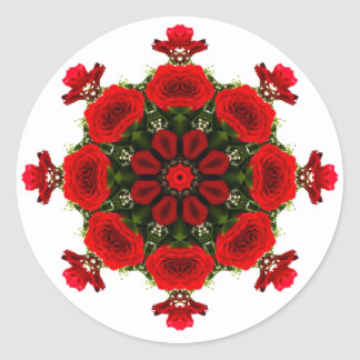 KALEIDOSCOPE MANDALA FLORAL BOUQUET OF RED ROSES CLASSIC ROUND STICKER