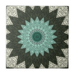 """Kaleidoscope Mandala in Green and Blue Ceramic Tile<br><div class=""""desc"""">Aurae 003: an elegant and decorative bohemian style (boho) flowery abstract mandala design … beautiful kaleidoscopic flower pattern in a stylish color palette of deep forest green and turquoise aqua blue accented with soft,  pale green—this design features an interesting top layer of black line art.</div>"""