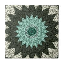 Kaleidoscope Mandala in Green and Blue Ceramic Tile