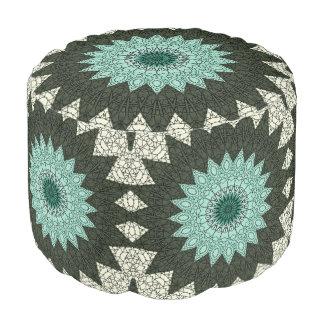 Kaleidoscope Mandala in Green and Blue Pouf