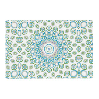 Kaleidoscope Mandala in Ocean Blue, Gray and White Placemat