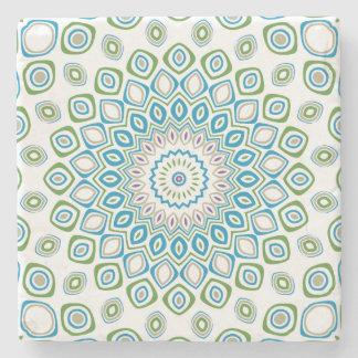 Kaleidoscope Mandala in Ocean Blue, Gray and White Stone Coaster