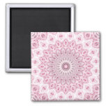Kaleidoscope Mandala in Pink, White, and Gray 2 Inch Square Magnet