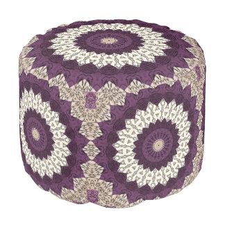 Kaleidoscope Mandala in Purple, Mauve, and Beige Pouf