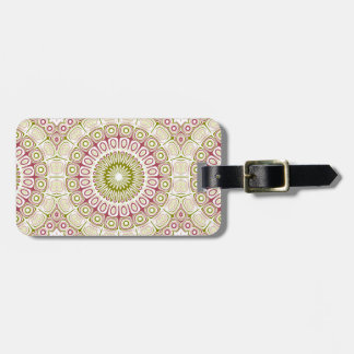 Kaleidoscope Mandala in Rose Pink and Olive Green Bag Tag
