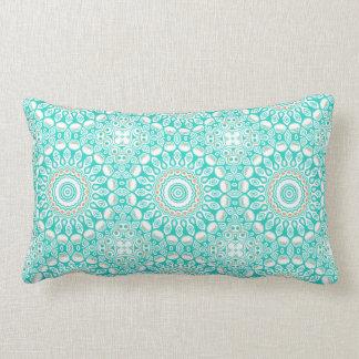 Kaleidoscope Mandala in Turquoise, White, and Tan Pillow