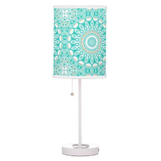 Kaleidoscope Mandala in Turquoise, White, and Tan Table Lamp