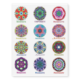 Kaleidoscope Namaste Set 2 Temporary Tattoos