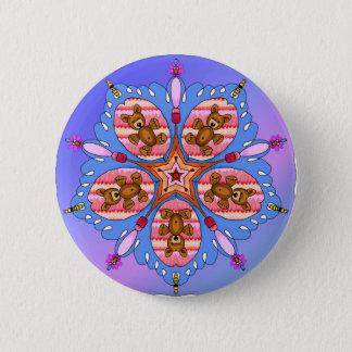 Kaleidoscope of bears and bees button