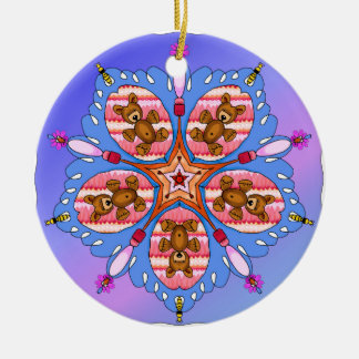Kaleidoscope of bears and bees ceramic ornament