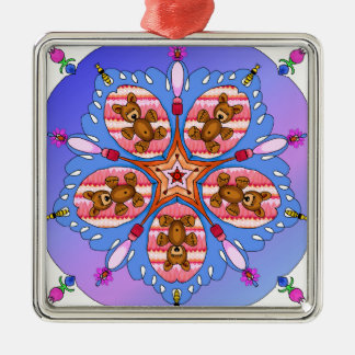 Kaleidoscope of bears and bees metal ornament