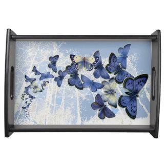 Kaleidoscope of blue butterflies serving tray