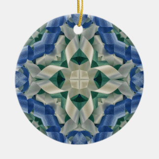 Kaleidoscope of Ribbons in Blue and White Ceramic Ornament