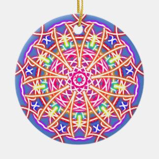 Kaleidoscope on Blue Ceramic Ornament