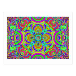Kaleidoscope pattern neon graphic 1 postcard