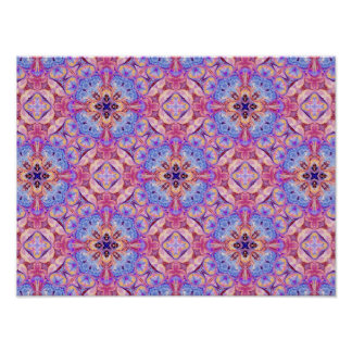Kaleidoscope Pattern Poster in Pink and Blue