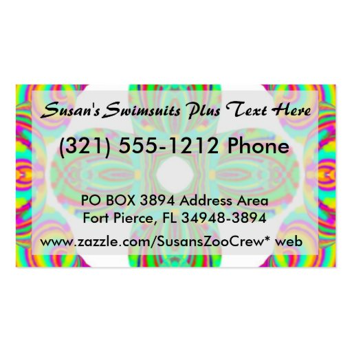 Kaleidoscope Pattern, white and green tints Business Card