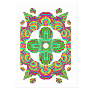 Kaleidoscope Pattern, white and green tints Postcard
