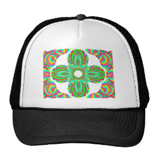 Kaleidoscope Pattern, white and green tints Trucker Hat
