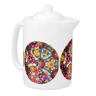 Kaleidoscope Peace Sign Tea Pot