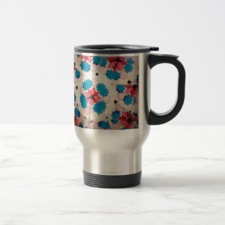 kaleidoscope pink white and blue pattern travel mug