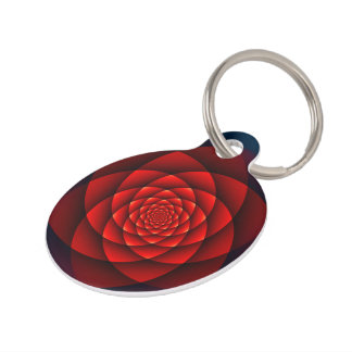 Kaleidoscope ROSE red + your text Pet Tags