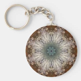 Kaleidoscope Rustic Nordic christmas snowflakes Keychain