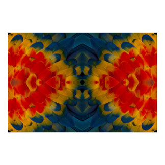 Kaleidoscope Scarlet Macaw design Poster