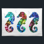 "Kaleidoscope Sea Horses Place Mat<br><div class=""desc"">Stylish cotton place mat with graphics of three kaleidoscope colored sea horses,  against a white background. Customize to add your own text to this colorful place mat. Matching napkins available.</div>"