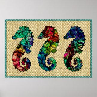Kaleidoscope Sea Horses Poster Print
