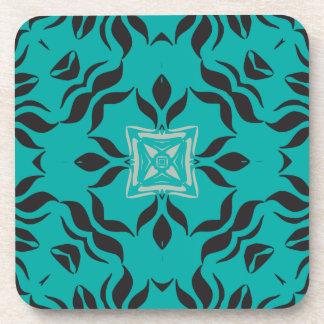 Kaleidoscope Square, Aqua Blue, Grey, Black Drink Coaster