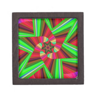 Kaleidoscope Star Art Red Green Jewelry Box