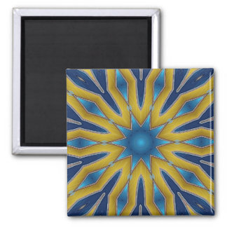 Kaleidoscope Star 2 Inch Square Magnet