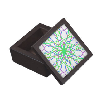 Kaleidoscope Star, White Green Blue Purple Art Gift Box