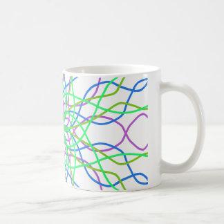 Kaleidoscope Star, White Green Blue Purple Art Mug