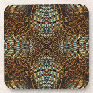 Kaleidoscope tiger fur pattern beverage coaster