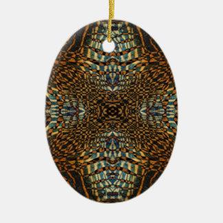 Kaleidoscope tiger fur pattern ceramic ornament