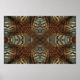 Kaleidoscope tiger fur pattern poster